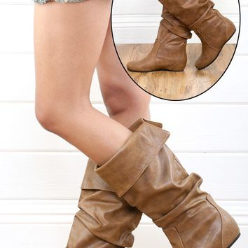 Soda Tail Tan Slouch Knee High Flat Boots and Shop Boots at MakeMeChic.com
