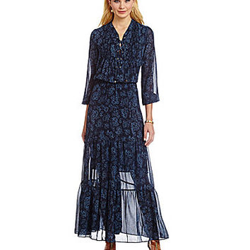 MICHAEL Michael Kors Boho Paisley Tiered Maxi Dress - New Navy