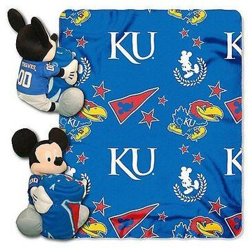 Kansas Jayhawks NCAA Mickey Mouse Throw and Hugger Pillow Set