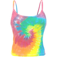 Pastel Spiral Tie-Dye Youth Girls Tank Top
