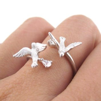 Love Birds Wrapped Around Your Finger Adjustable Ring in Silver