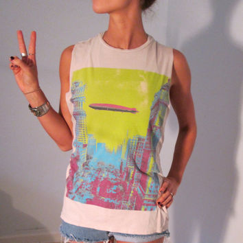 Led Zeppelin Neon Acid Grunge Vintage Graphic Cutoff Muscle Tee S M Club Kid Boho Hippie Gypsy Hipster Festival Wear T Shirt