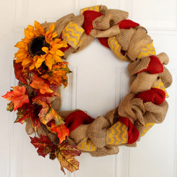 Fall Wreath, Autumn Wreath // 16 inch diameter // Yellow Chevron, Red, Brown Burlap // Sunflower and Leaf accents
