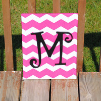 "Personalized Dark Hot Pink Chevron With Black Curly Initial Canvas Wall Art 11""x14"" Customized Boys And Girls Room Decor"