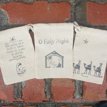Christmas Nativity Set of 6 Religious Muslin Stamped 4x6 Gift Bags:Bible Verse & Mary, O Holy Night Manger Scene,  3 Wisemen -Holiday Favors