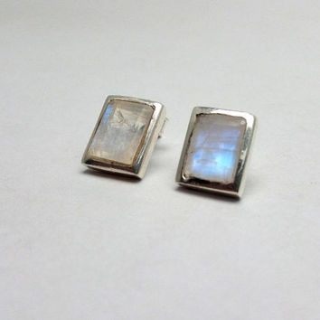 Rainbow Moonstone Stud Earrings, 925 Sterling Silver Rectangle Earrings, Moonstone 925 Silver Earrings, Rainbow Earring, Silver Stud Earring