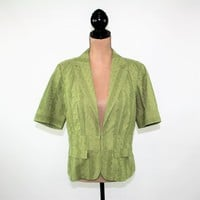 Short Sleeve Jacket Women Large Casual Green Jacket Cotton Eyelet Jacket Size 12 Jacket Coldwater Creek Womens Clothing