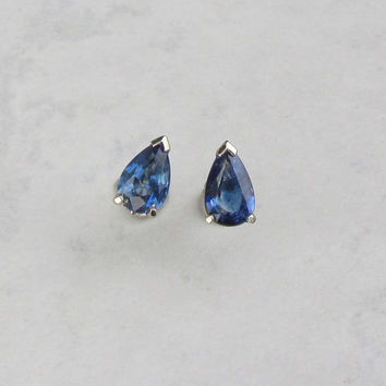 Pear Shape Blue Sapphire 14k White Gold Scroll Design Post Earrings September Birthstone Gemstone Jewelry