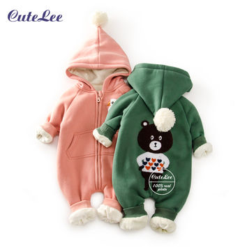 2016 Top Baby christmas fleece snowsuit with hat newborn baby girl boy clothes cotton snowsuit for boys winter coats and jackets