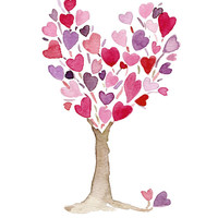 Pink purple Heart Tree original watercolor painting, anniversary, valentine day, birthday, girly, mothers day, weddings