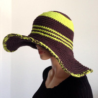Large Brimmed Cotton Sun Hat. Crochet Beach Hat, Summer Fashion Hat. Derby Hat. Cruise Hat