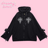Buy Listen Flavor Cross & Wing Lace Up Ribbon Sleeve Parka - Black at Dreamy Bows