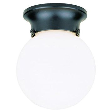 Westinghouse 66840 One-Light Flush-Mount Outdoor Fixture w/ Glass Globe, Black