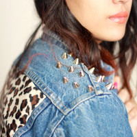 Denim Shoulder Studded Leopard Jacket