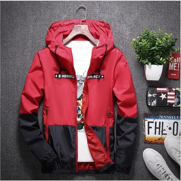 Trendy yizlo anorak jacket windbreaker men jaqueta masculina zipper patchwork waterproof jackets streetwear autumn bomber jacket AT_94_13