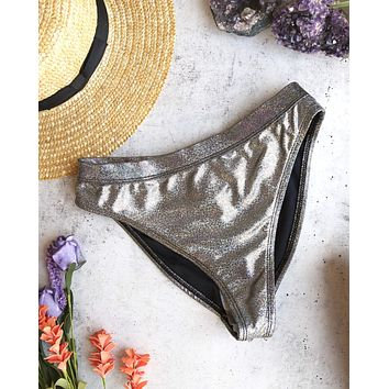 olivia -  metallic banded high waist high cut cheeky bottom - more colors