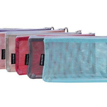 CREYXT3 Sea Team 6pcs Multicolored Portable Travel Toiletry Pouch Nylon Mesh Cosmetic Makeup Organizer Bag with Zipper