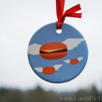 Burger Food Ornament Funny Hamburger Tree Decoration Home Decor Porcelain Gift Unique Cheeseburger Fandom Wing Flying Blue Christmas Pastel