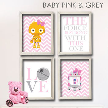 Baby Girl Star Wars Nursery Art- Girl Room Decor R2-D2 and C3-PO- 4 Print Set - Star Wars Decor - Baby Shower Gift - Nursery Play Room Girl