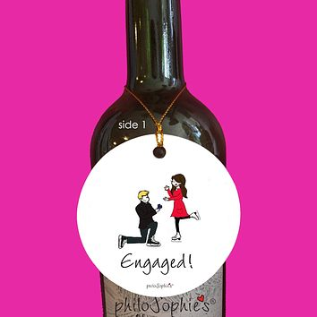 Ice Skating Engagement Wine Tag/Ornament