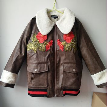 Fashion Women Embroidery Brown Coat Jacket Red Rose