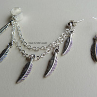 Ear Cuff With Chain Ear Cuff Silver Feather Ear Cuff Set Earring Cuff and Silver Earring Jewelry Feathered Indian