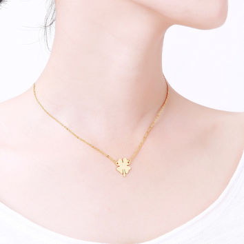 N0038 Online Shopping India Body Chains Women Clover necklaces & pendants Stainless Steel Jewelry Clover Four Leaves Necklace