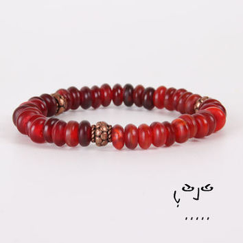 VujuWear Red/Copper Horn Women's Beaded Stretch Bracelet