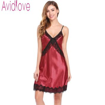 Avidlove 2018 New Women Sexy Dress Backless Lace Nightgown Satin Sleepwear Sleeveless Nightdress Lady Nighties Indoor Clothing