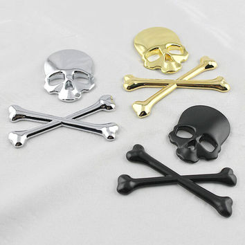 Car Styling Skull Metal Bone Badge motorcycle car stickers and decals car accessories For Jeep SUV Harley Honda Yamaha Toyota