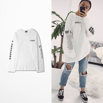 New Fashion Design Casual Wear Cotton T Shirt Long Sleeve Men Kanye West Coast High Street Dark Souls Vintage T-shirt Vespa Tee