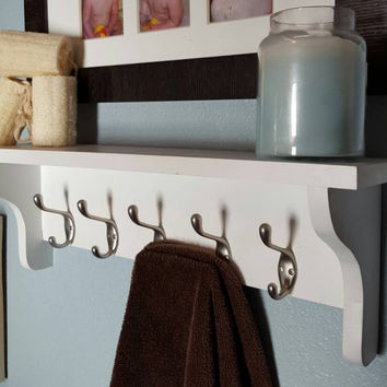 Wooden Bathroom Shelf With Towel Hooks From Brandnewtome