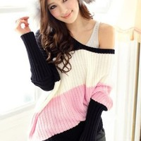 Hottest Off Shoulder Color Block Pullover in Pink