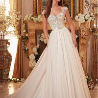 [143.99] Wonderful Tulle V-neck Neckline A-line Wedding Dresses With Beaded Embroidery - dressilyme.com
