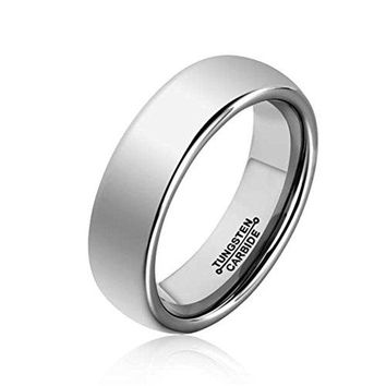 6mm Silver Tungsten Carbide Ring Simple Style Wedding Jewelry Engagement Band High Polished (Platinum)