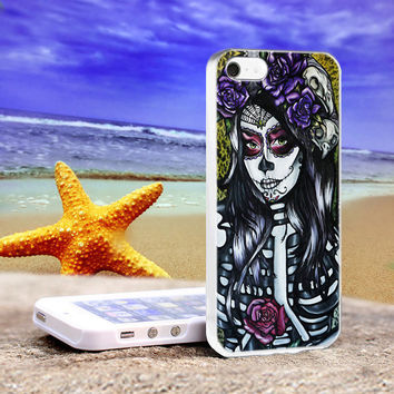 Floral Sugar Skull Day of the Dead, Print on HardCase for iPhone 4/4s and iPhone 5 Case, Leave Message to us for Device and Colour Case