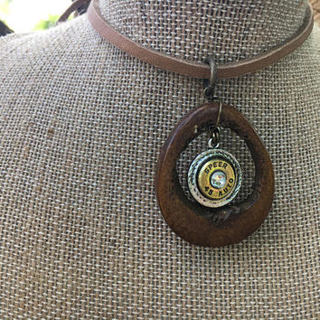 Necklace, Leather, Choker, Hunting, Bone, Nature, Native American, Ethnic, Crystal, Western, Navajo, Bullet, Ammo, Woodland, Cowgirl,Country