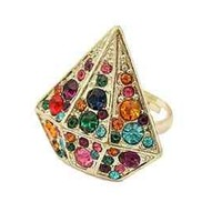 Women's Fashion Gold Tone Ring Jewelry Colourful Free Gift If You Spend min. $5