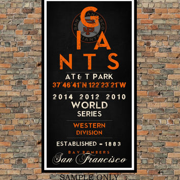 San Francisco Giants - Eye Chart chalkboard print - sports, Baseball, gift for fathers day, subway sign - Eyechart wall art
