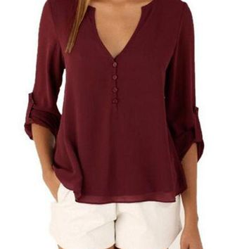 Sexy Deep V Neck Chiffon Blouse Shirts