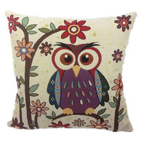 Owl Throw Pillow Case Cushion Cover Home Sofa Decorative