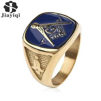 Jiayiqi Vintage Blue Masonic Signet Rings for Men Jewelry Gold Color Stainless Steel Ring Male Punk Gothic Party Gifts