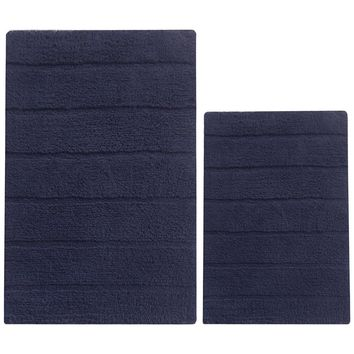 2 Piece Soft Texture Cotton Bath Rug Set, Navy Blue