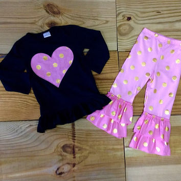 Pink & Gold Dot Heart Outfit