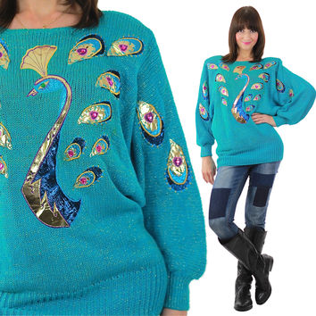 Peacock sweater Knit gold metallic teal abstract oversized batwing tunic deco Mod Boat neck Medium Large