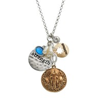 Croft & Barrow ''Strength'' Disc & Elephant Charm Necklace (Grey)