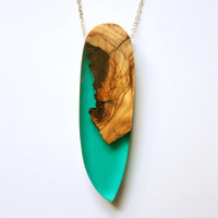 "Large and long pendant / necklace from Australian Olive wood and emerald green resin on a 70cm /28"" long rhodium plated chain"