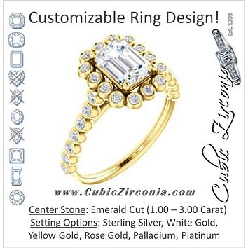 Cubic Zirconia Engagement Ring- The Maritere (Customizable Emerald Cut style with Round-Bezel Floral Halo and Accented Band)