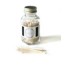 White Square Bottle Matches - Home Decor - Fancy Jar Matches - Strike on Bottle - Pair with a Candle - Match Jar - Light a Pretty Spark