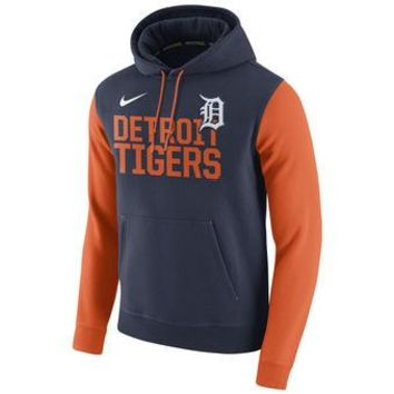 Detroit Tigers Nike MLB Navy/orange Ultra Fleece Pullover Hoodie